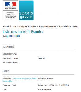 Jean Nomblot Kart sportif haut niveau espoir